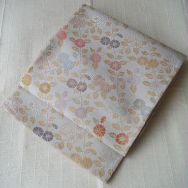 【ふくろ帯】ペールトーン 花文の袋帯