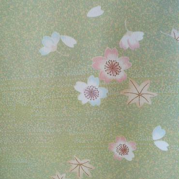 【袷】イエローグリーン系 春秋花文 小紋