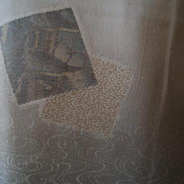 【袷】薄灰色色紙と観世水文暈しの附下
