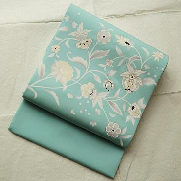 【なごや帯】絹菱謹製 塩瀬・ペパーミント更紗文なごや帯