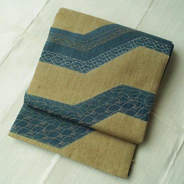 【ふくろ帯】長尺・紬地幾何学ラインに刺し子の洒落袋帯