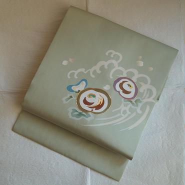 【なごや帯】青磁鼠色波に花文塩瀬なごや帯