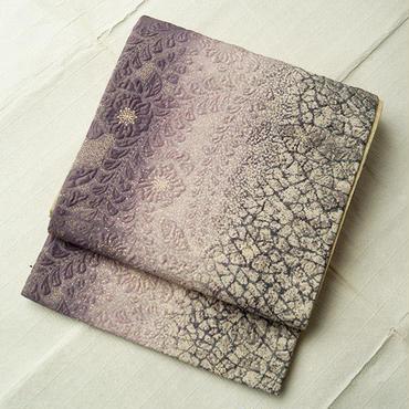 【ふくろ帯】灰紫暈し辻が花柄ふくれ織ふくろ帯