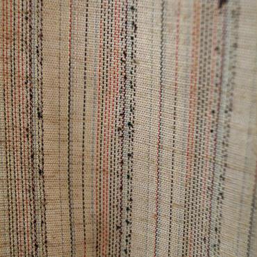 【単衣】ピンクベージュ系 綿麻縞紬