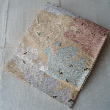 【ふくろ帯】パステルカラ-小菊の唐織袋帯