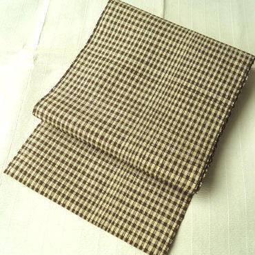 【なごや帯】茶×生成り 格子 ざっくり かがり帯