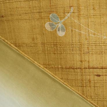 【袷】しょうざん生紬黄金色秋柄紬