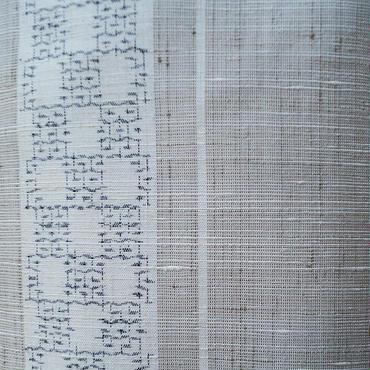 【袷】亜麻色に縞と市松絣の結城紬