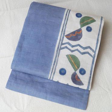 【なごや帯】青藤色 抽象文様染め本麻なごや帯