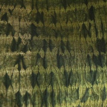 【袷】深い緑色 板締絞り染め 紬