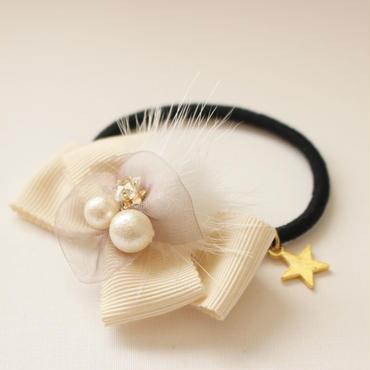 【親子ペアペア】Shining Star★ホワイトヘアゴム