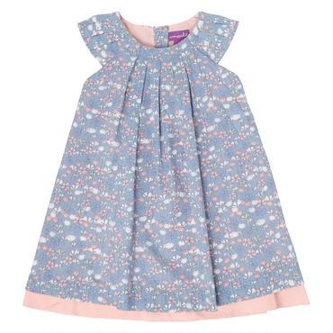 リバティ風プリント   A ライン ドレス  ブルー&ピンク 104cm
