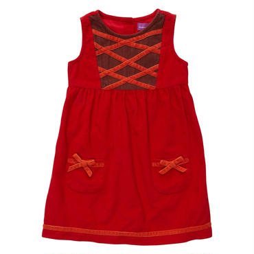 レッド コーデュロイ ドレス  98cm,104cm