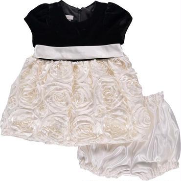 ブラック&ホワイト ベビードレス(ベルト&ローズ)74cm