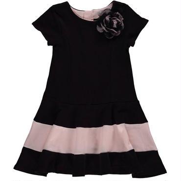 ブラック&ピンク フレアスカートドレス コサージュ 110cm