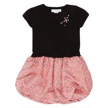 ブラック&ピンクのベルベットドレス 110cm〜116cm