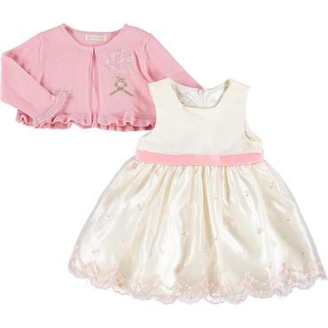 ピンク&フローラルドレス &カーディガン