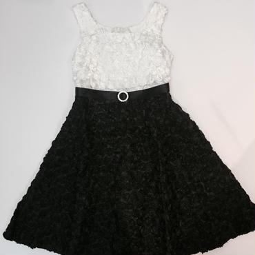 バイカラー ホワイト&ブラック ローズレース ドレス116cm