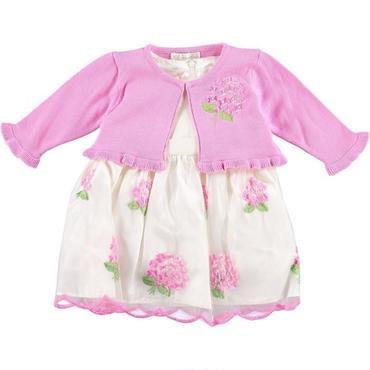フローラルシフォンドレス(ピンク)ドレス&カーディガン74cm