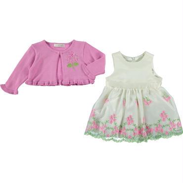 フローラルシフォンドレス(グリーン)ドレス&カーディガン74cm