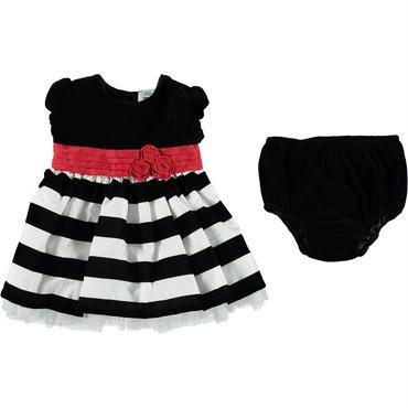ホワイト&ブラックストライプ&ベルベットドレス  68cm