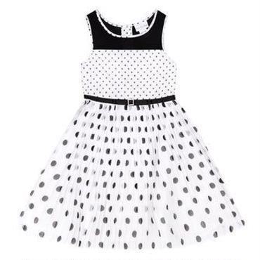 ドットプリーツスカート サマードレス(ホワイト&ブラック) 128cm