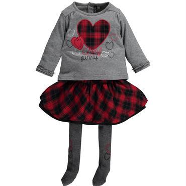 ロングTシャツ&スカート(チェック)  タイツ付き 74cm