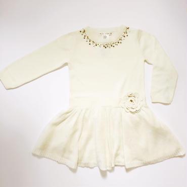 ホワイトニットドレス  98cm -104cm