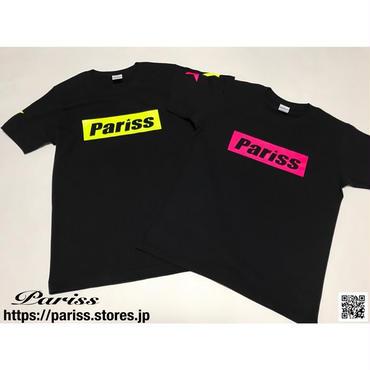 【人気】BoxロゴTシャツ【ブラック×蛍光イエロー・蛍光ピンク】