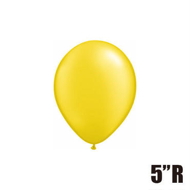 【ゴムバルーン】5インチ パールシトリンイエロー/5個セット 約13cm ラウンド 無地 [BG0101-43580-P]