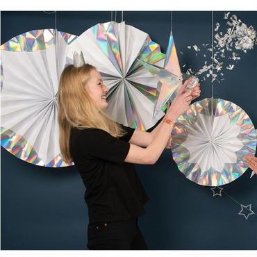 【MeriMeri】ペーパーファンセット/Parper Pinwheels4点セット/ホログラムシルバー [MM0102-45-2445]