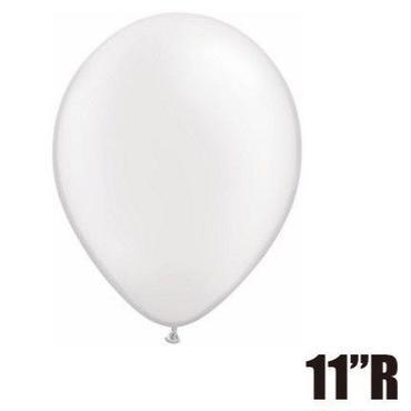 【ゴムバルーン】11インチ パールホワイト/5個セット約28cm ラウンド 無地 [BG0103-43788-P ]