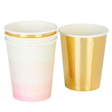 【Talking Tables】ペーパーカップ/ピンク&ゴールド(2種各6個) [TT0202-PINK-CUP]