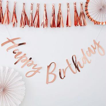 【Ginger Ray】Bunting Happy Birthdayガーランド/ローズゴールド[ZZ0411-PM-332]