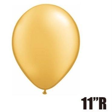 【ゴムバルーン】11インチ ゴールド/5個セット 約28cm ラウンド 無地[BG0103-43749-P]