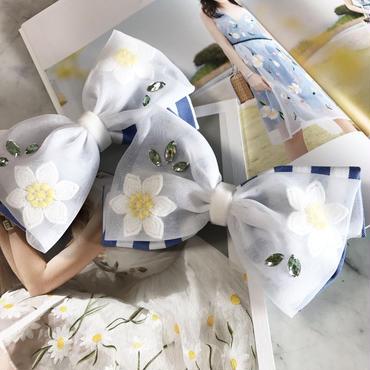 【限定】Flower Tulle Ribbon バレッタ  (Marguert OP Ver.)