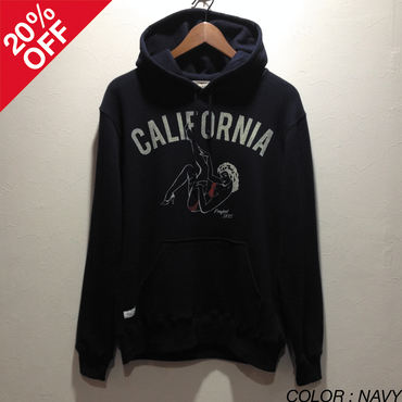 [SALE][20%OFF] PROJECT SR'ES (プロジェクトエスアールエス) / CALIF MATE PULLOVER (グラフィックプリント プルオーバーパーカー) / No.KNT01073