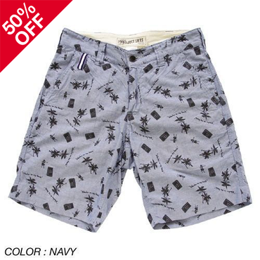 [THE DAY掲載商品][SALE][50%OFF] PROJECT SR'ES(プロジェクトエスアールエス)/WIND ON MY BACK SHORT PANTS(総柄ショーツ)
