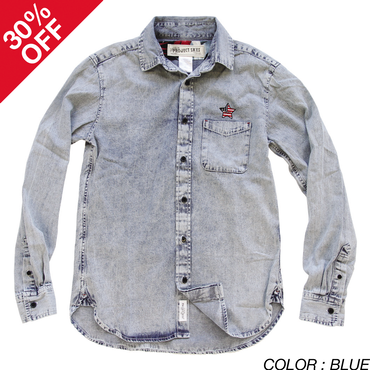 [SALE][30%OFF] PROJECT SR'ES(プロジェクトエスアールエス) / WASHED OUT DENIM SHIRT(デニムシャツ) / No.SHT00226