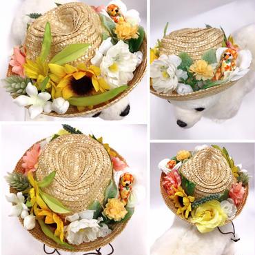 麦わら帽子/中折れハット・紐付き