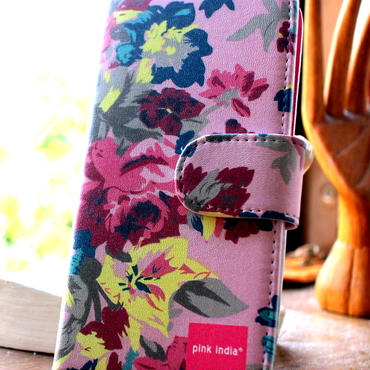 iphone6 plus/6s plus用手帳型ケース pink flower