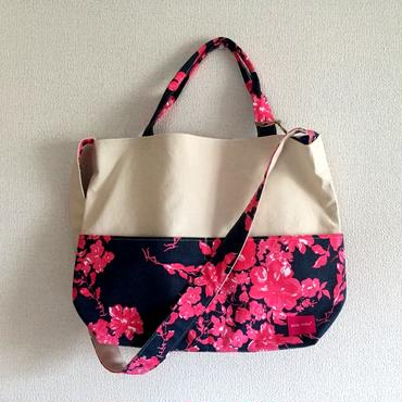 柄は画像通り!2way tote bag Midnight shadowblue
