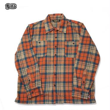 BLUCO(ブルコ)OL-048-17 HEAVY NEL SHIRTS オレンジ