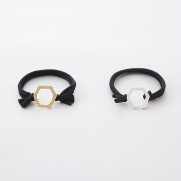キカツチメリングポニー  / ヘキサゴン Ring of Hammered finish hex type Hair elastic