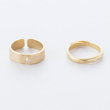 ジルコニアツチメリング / 2set Zirconia Brass Hammered finish 2set Ring