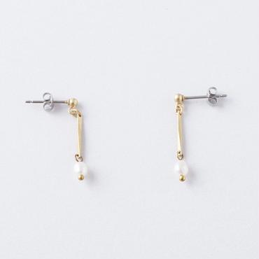 ライスパール小波チェーンピアス  /  Rice pearl and facet chain Pierce