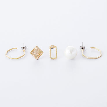 ハンドワーク5setピアス  /  Brass Hammered finish 5set Pierce