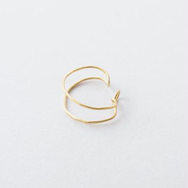 ツチメダブルラインイヤカフ / Brass Hammered Double line Ear cuff