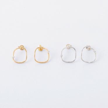 ツチメスクエアカーブイヤリング / Brass Hammered  Square curve Earring