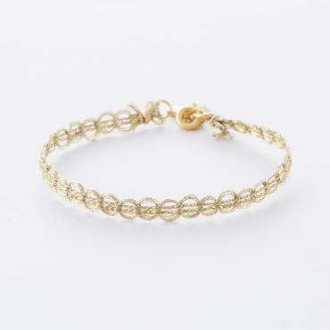 メタリックサークルレースブレス  /  Metallic yarn circle lace Bracelet